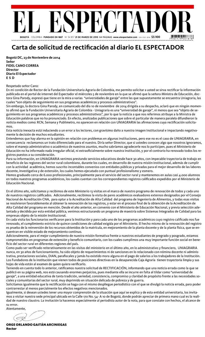 Publicación impresa en el diario EL ESPECTADOR, solicitando la rectificación de la Información