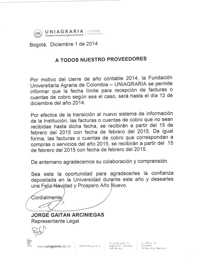 Por cierre contable, UNIAGRARIA recibirá facturas o cuentas de cobro hasta el 12 de diciembre de 2014
