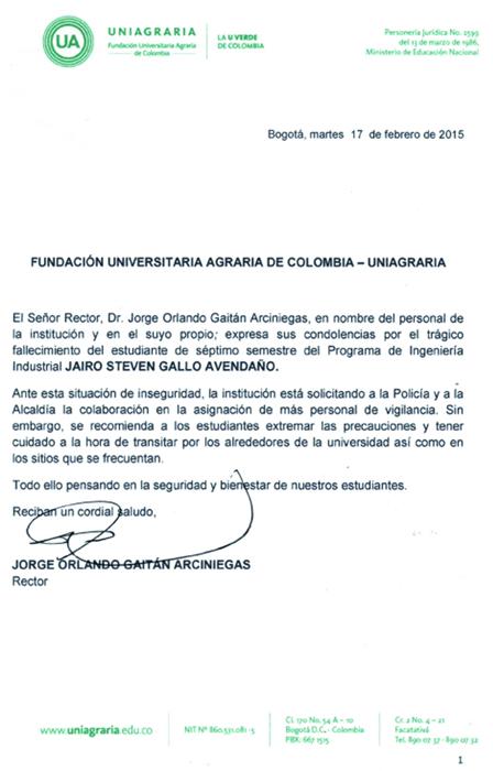 Comunicado del Rector, manifestando condolencias a la familia Gallo Avendaño