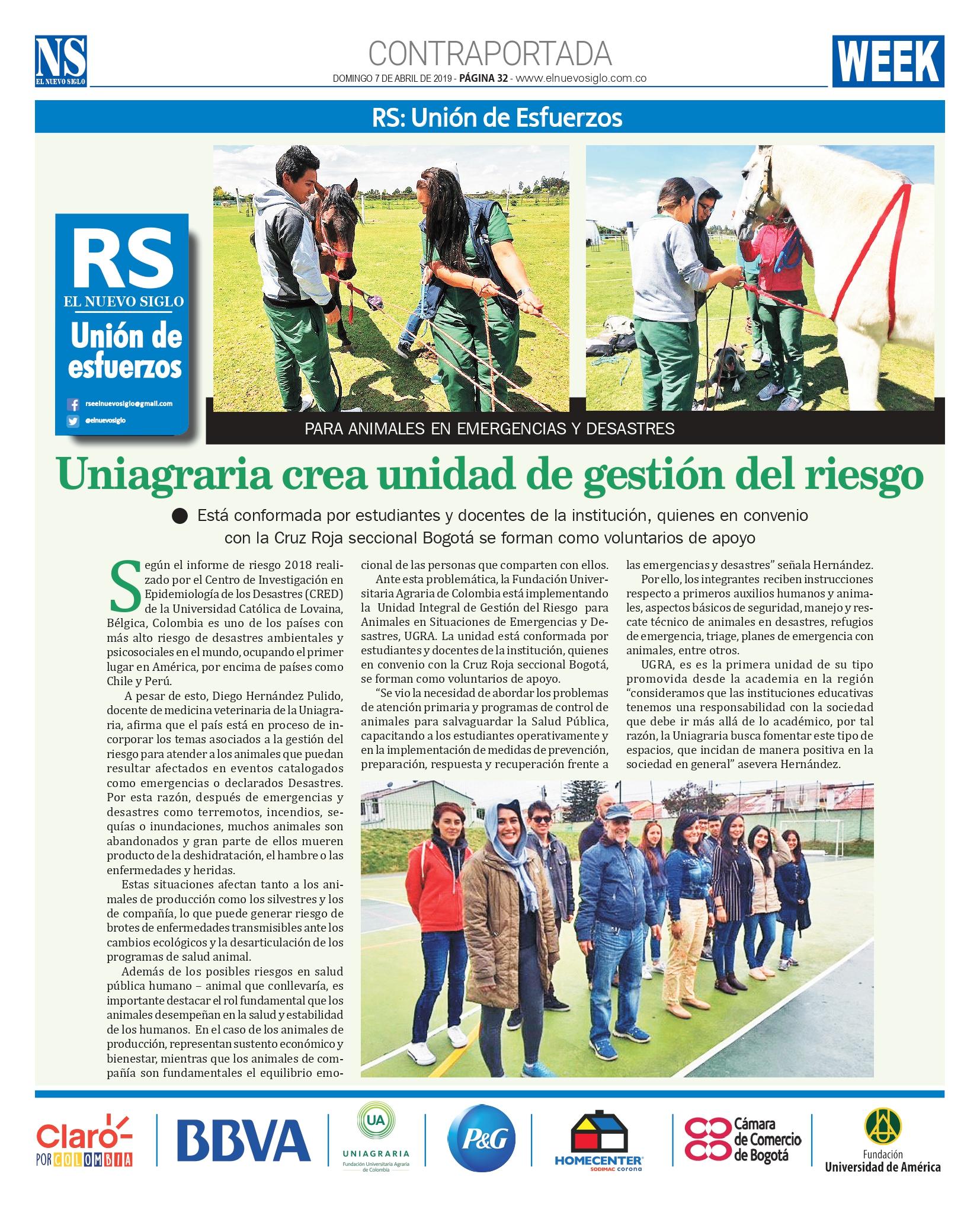 Uniagraria crea unidad de gestión del riesgo. #UAenmedios