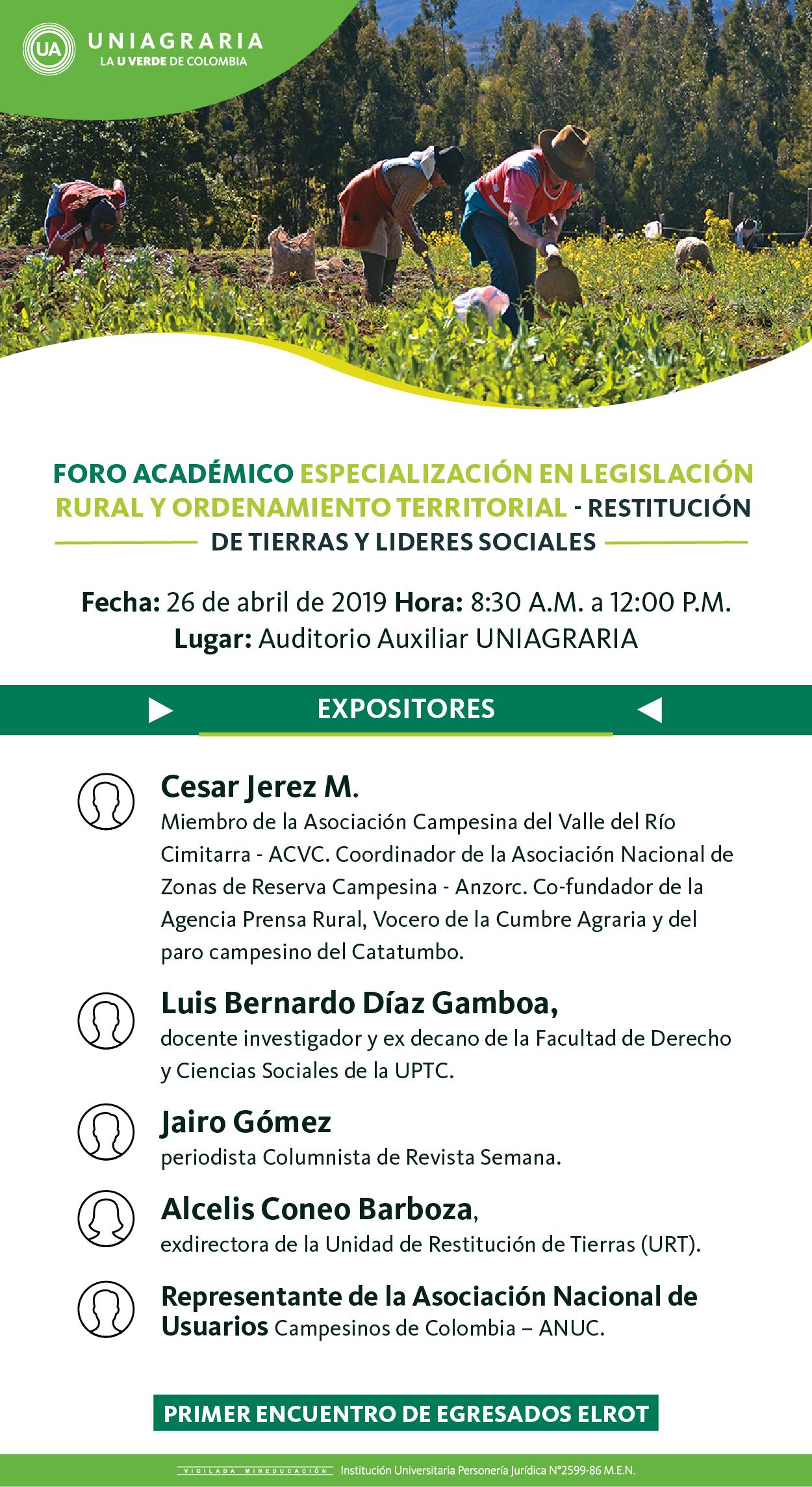 Foro Académico Especialización en Legislación Rural y Ordenamiento Territorial – Restitución de tierras y lideres sociales