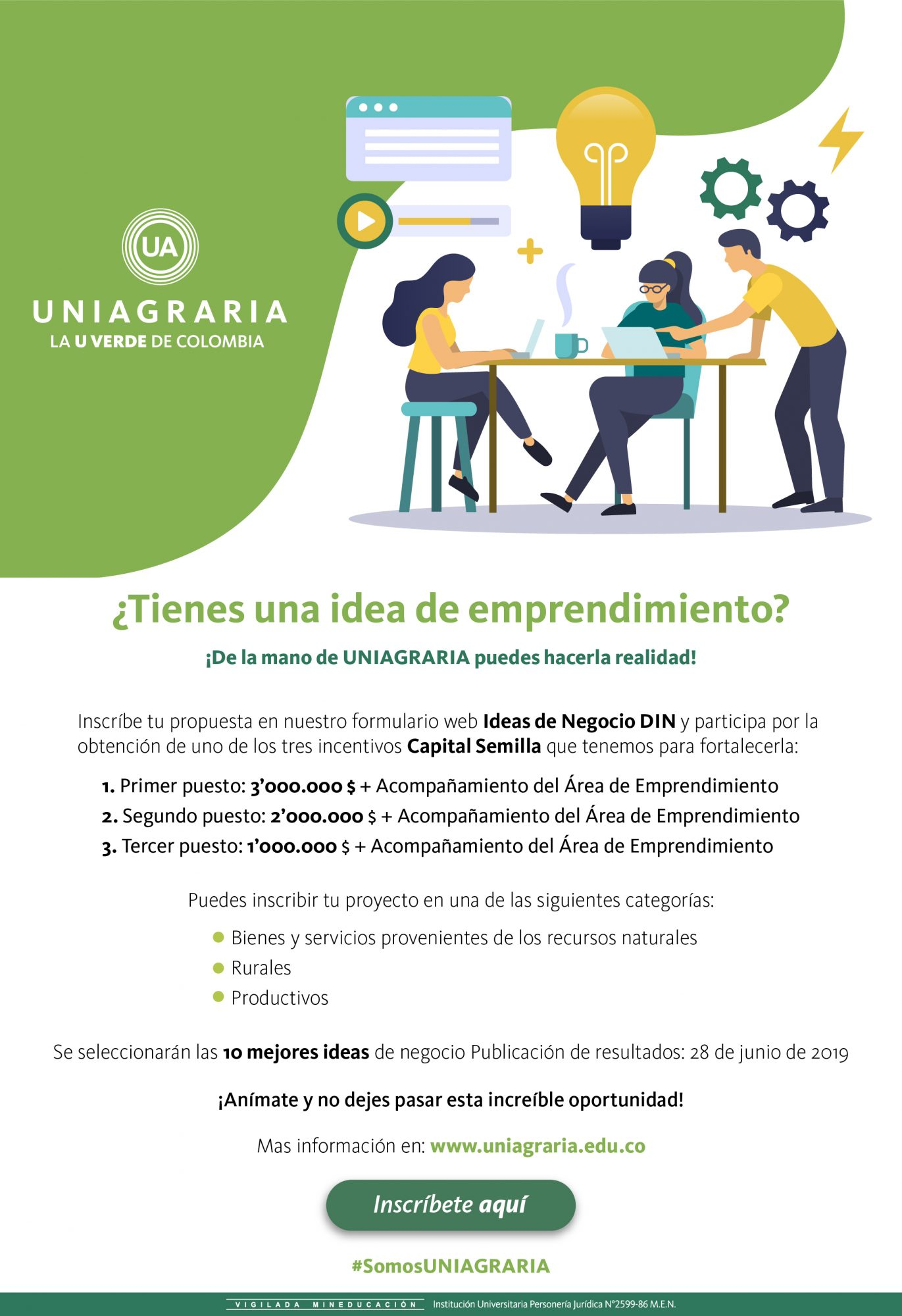 ¿Tienes una idea de emprendimiento? ¡De la mano de UNIAGRARIA puedes hacerla realidad!