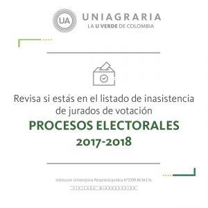 Revisa si estás en el listado de inasistencia de jurados de votación PROCESOS ELECTORALES 2017-2018