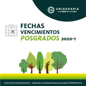 Fecha vencimientos posgrados 2020-1