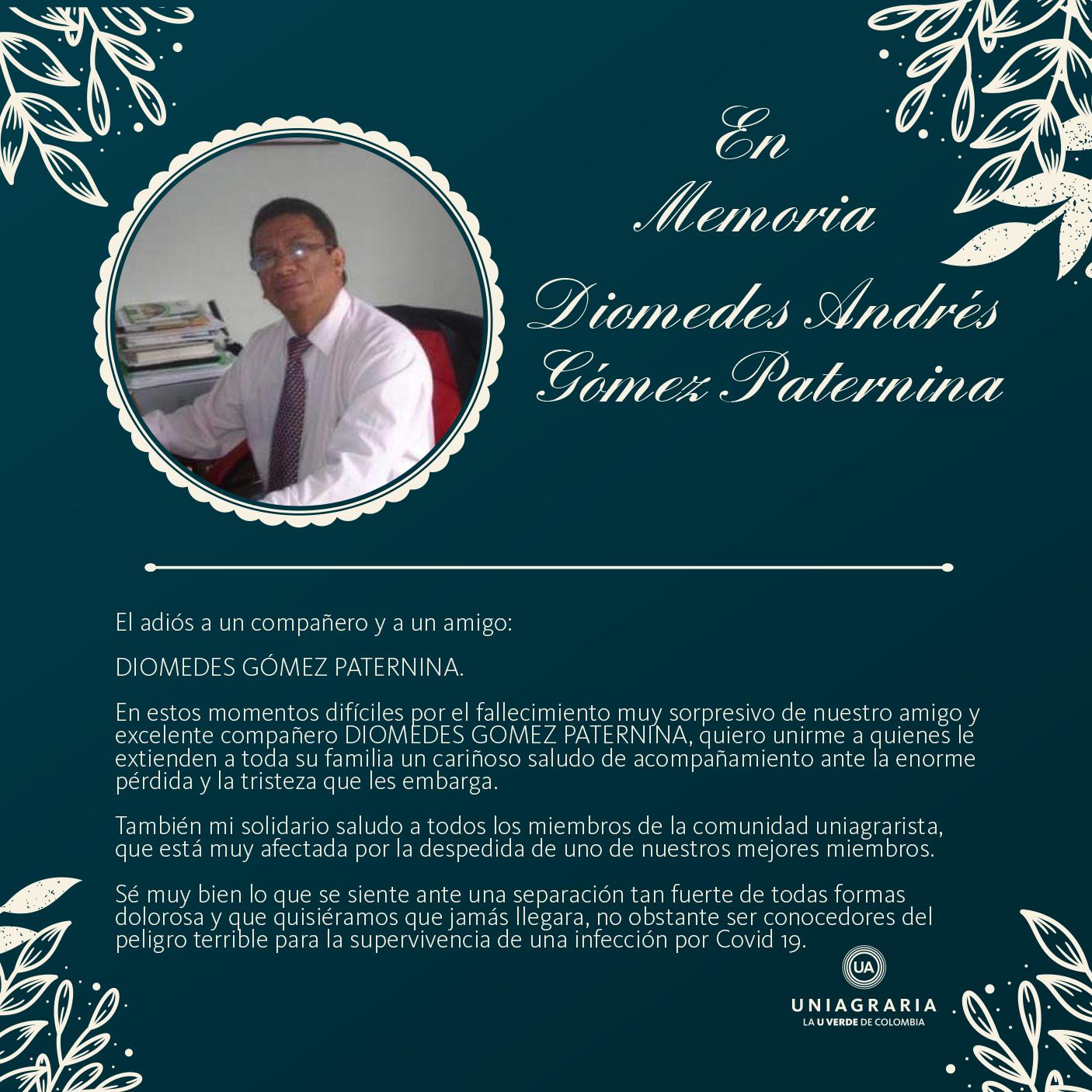 En memoria del profesor Diomedes Gómez Paternina