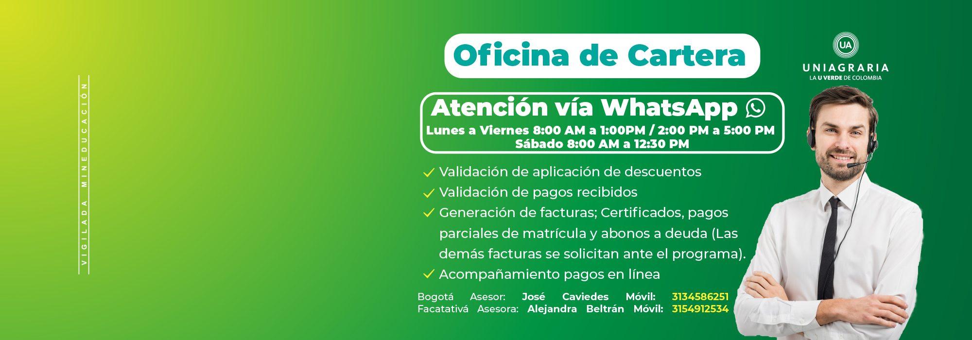 Banner Oficina de Cartera Whatsapp