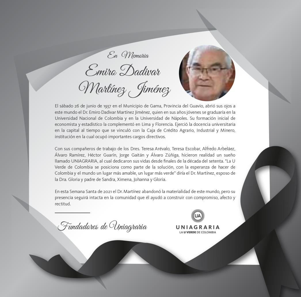 Mensaje de condolencias: fallecimiento del Dr. Emiro Dadivar Martínez Jiménez