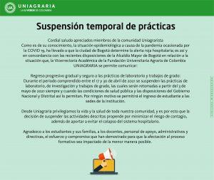 Suspensión temporal de prácticas