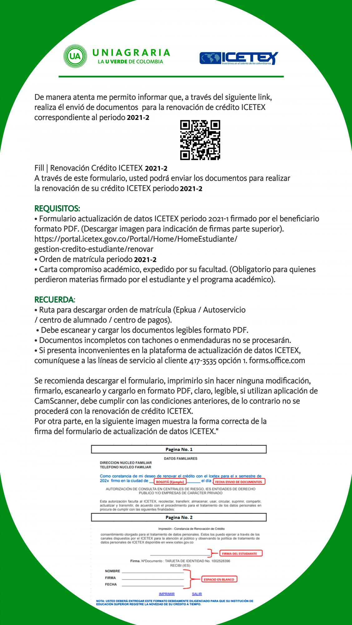 Renovación crédito ICETEX 2021-2