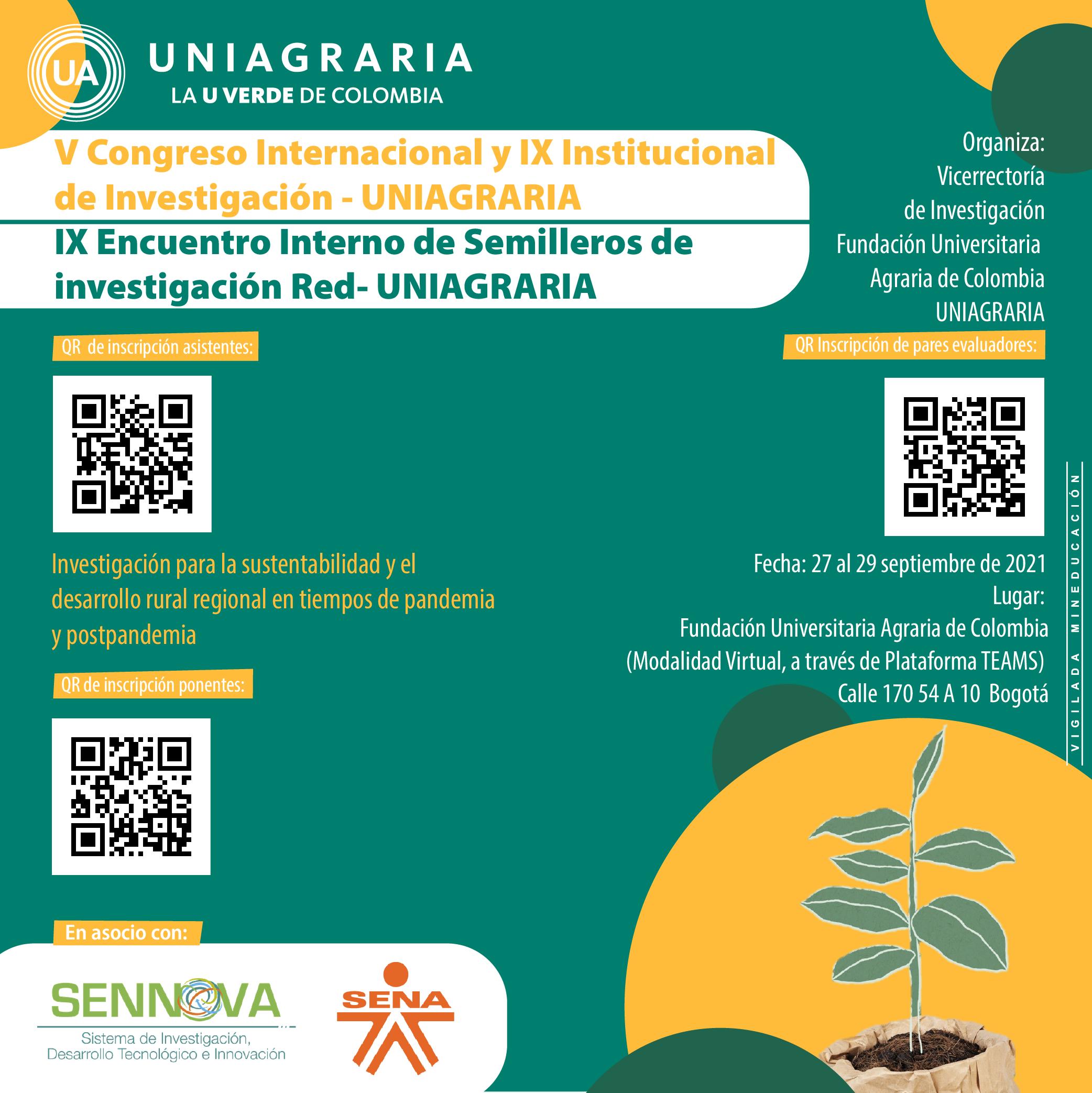 V Congreso Internacional y IX Institucional de Investigación, IX Encuentro Interno de Semilleros de Investigación