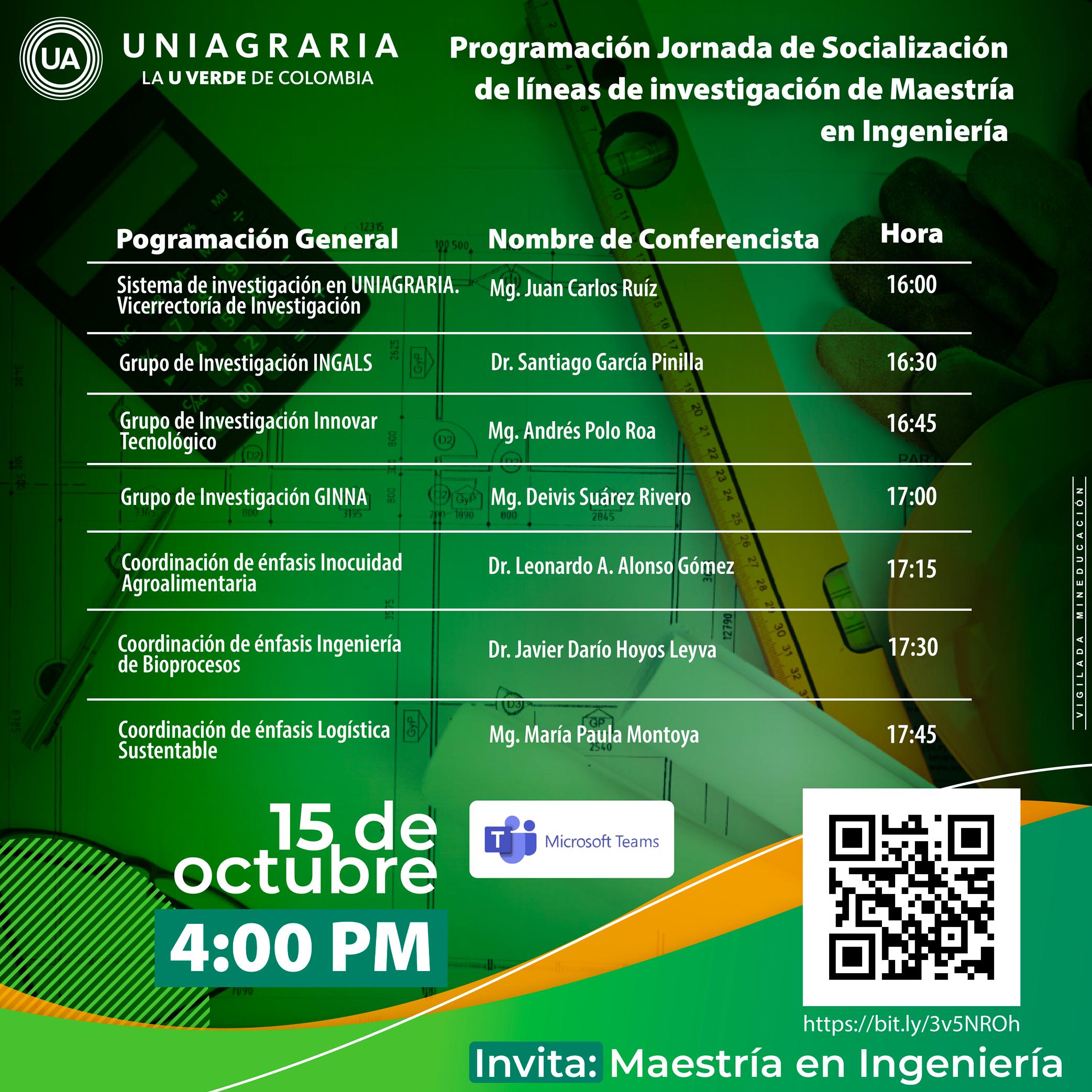 Jornada de socialización de líneas de investigación de Maestría en Ingeniería